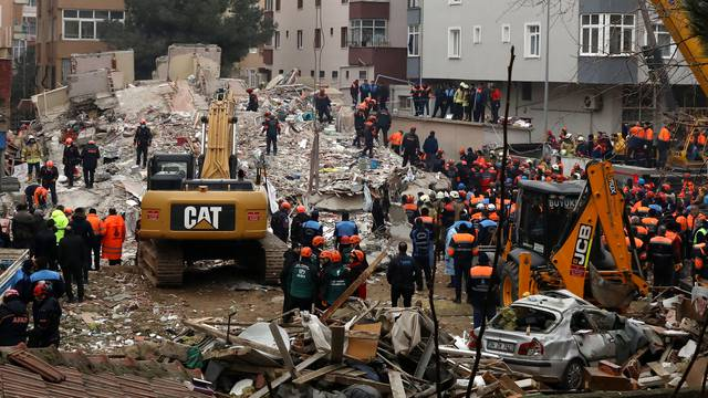 Site of a collapsed residential building in Istanbul