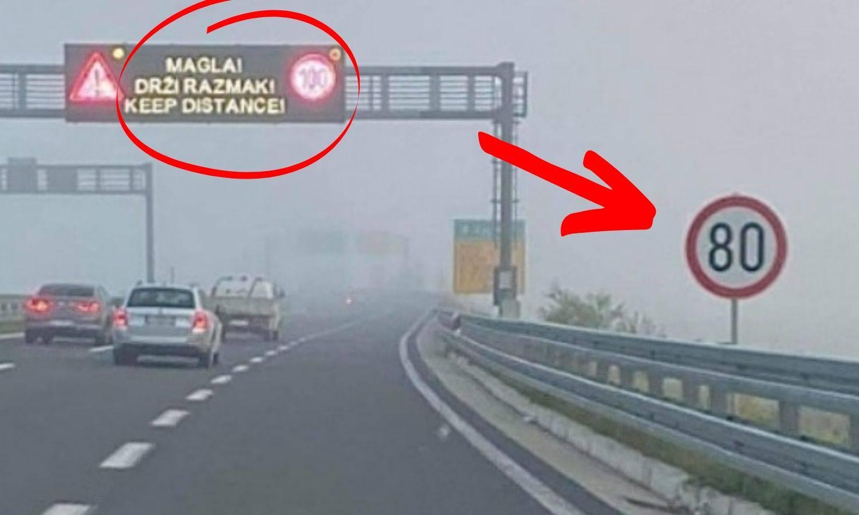 Slika s hrvatskih prometnica: Ograničenje je 80 km/h, ali magla je pa možete i 'stotku'