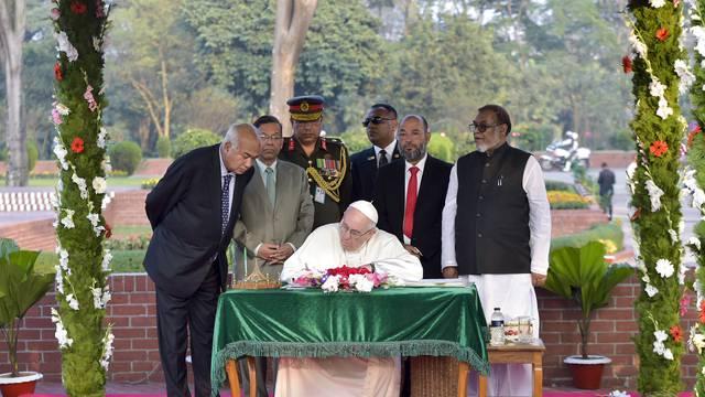 November 30, 2017 : Pope Francis during his visit at the National Martyr's Memorial of Savar, in Dhaka, Bangladesh.