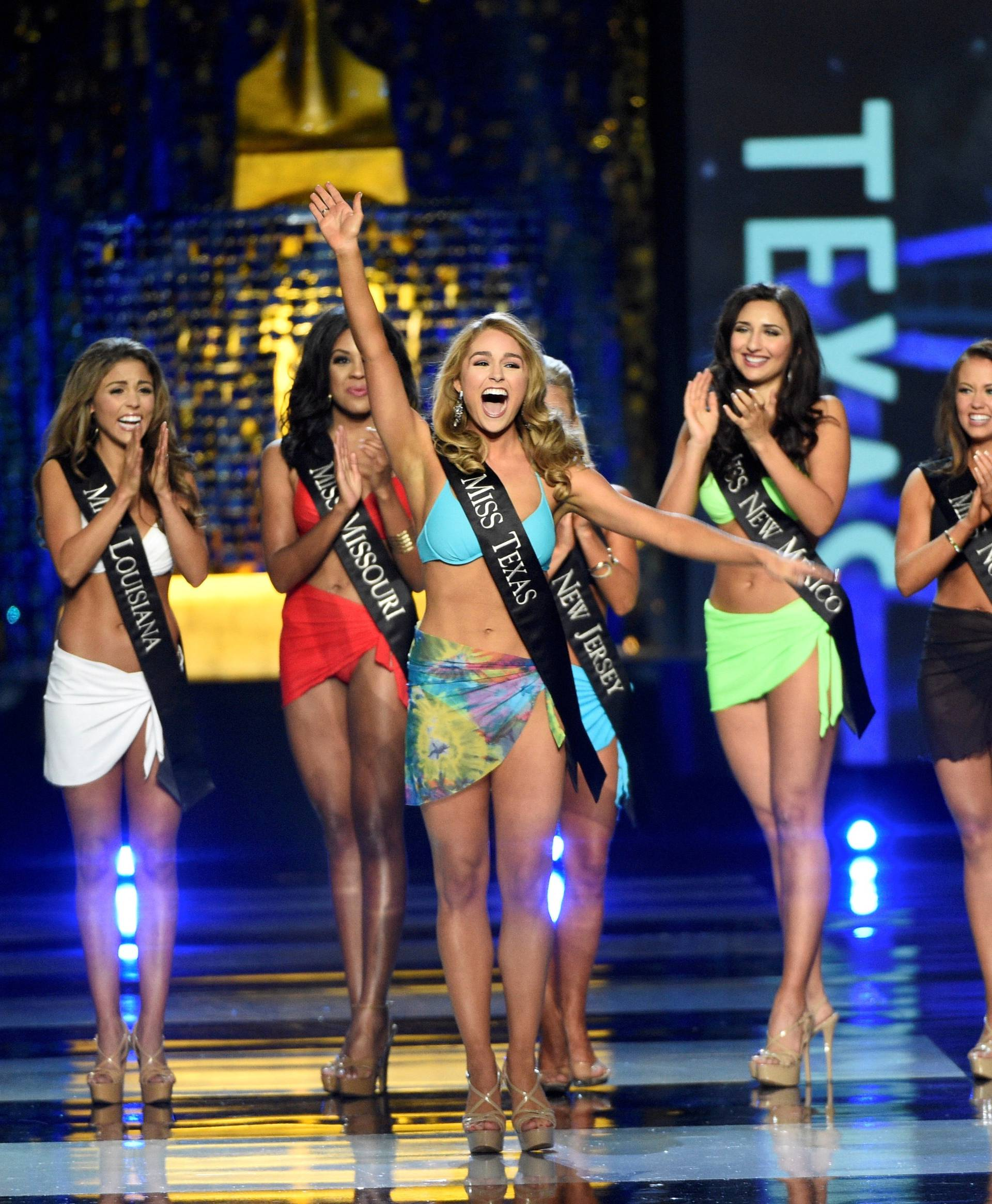 FILE PHOTO: Miss Texas Margana Wood reacts after advancing from the swimsuit component of the Miss America competition in Atlantic City