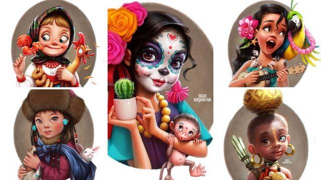 Ruska umjetnica crta preslatke curice iz raznih dijelova svijeta