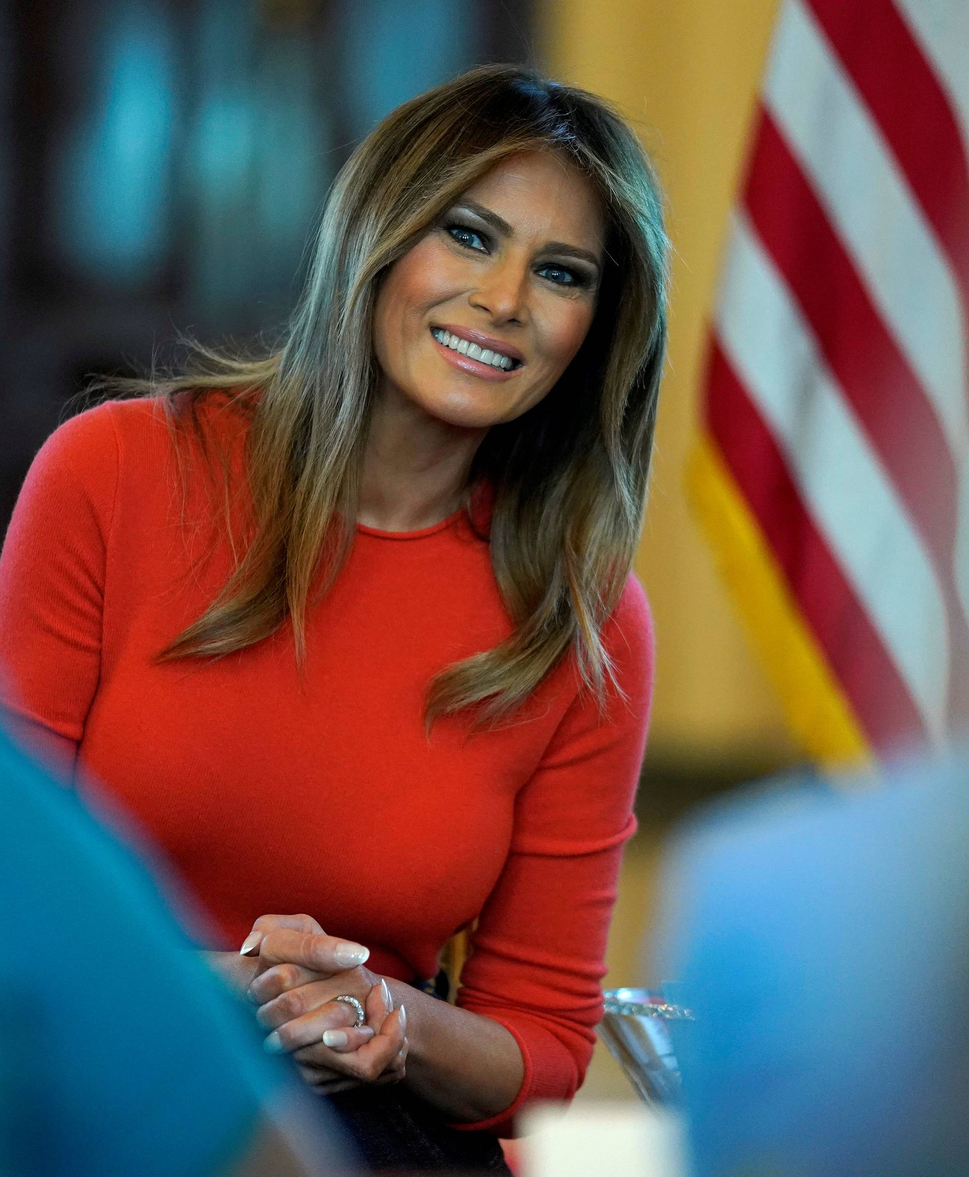 FILE PHOTO: U.S. first lady Melania Trump hosts a listening session with students at the White House in Washington