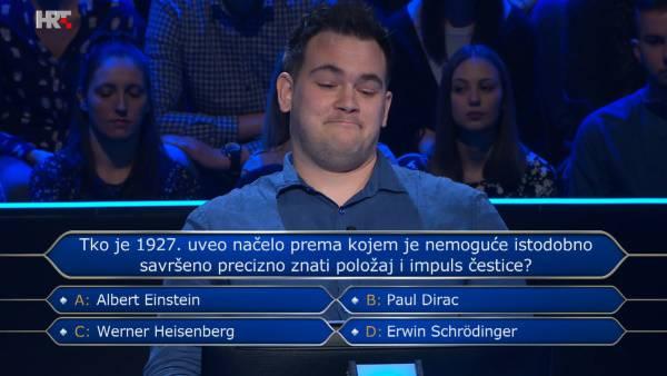 Sven je pogađao ime fizičara pa kviz napustio s 1000 kuna