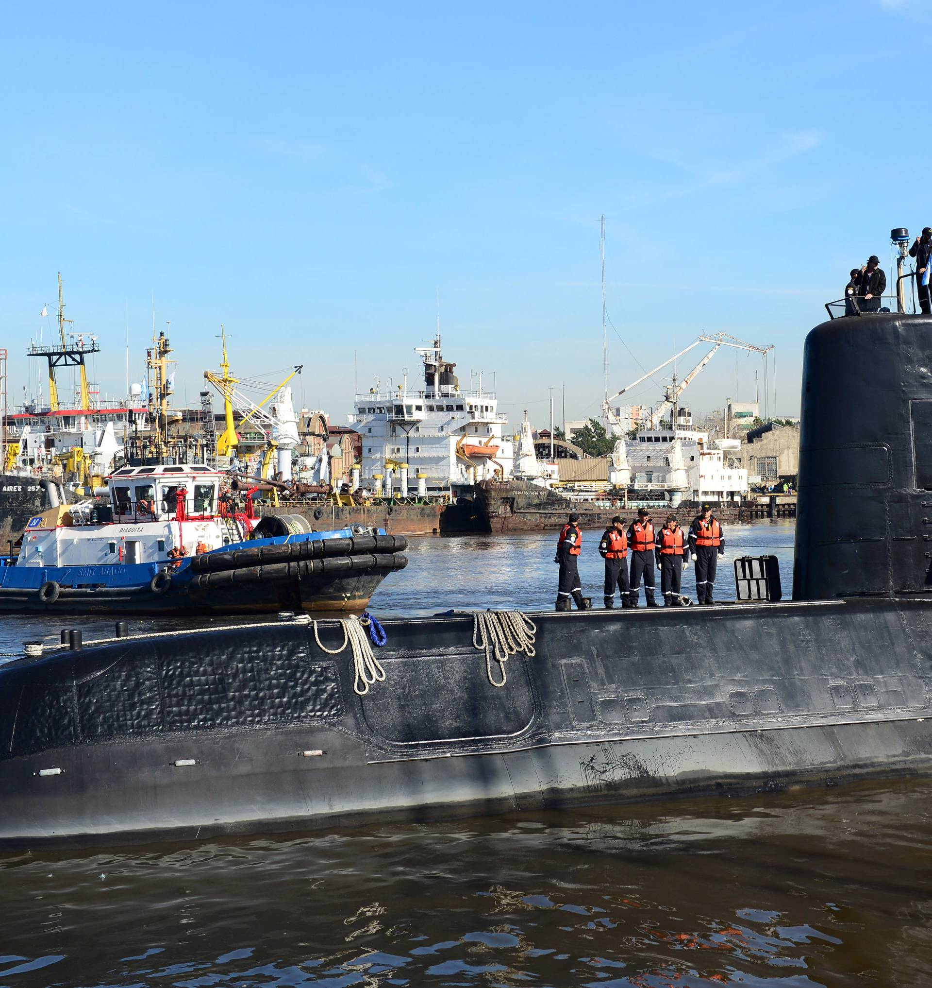 FILE PHOTO The Argentine military submarine ARA San Juan and crew are seen leaving the port of Buenos Aires