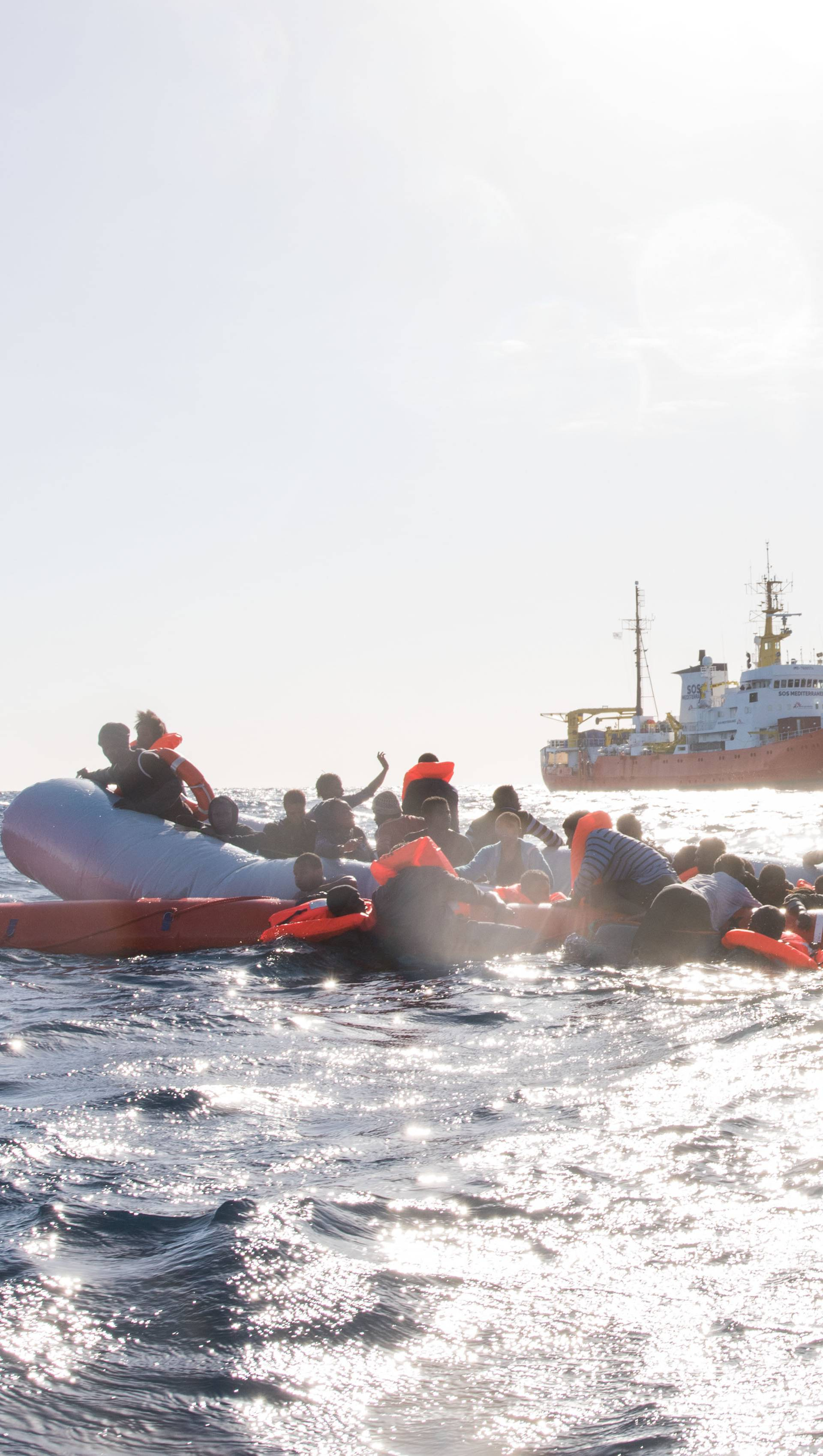 Migrants saved from the Mediterranean