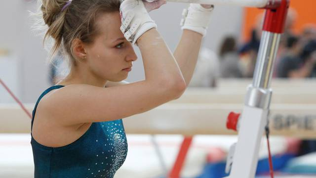 Member of women's gymnastics Russian Olympic team Spiridonova attends training session at Ozero Krugloe training centre outside Moscow