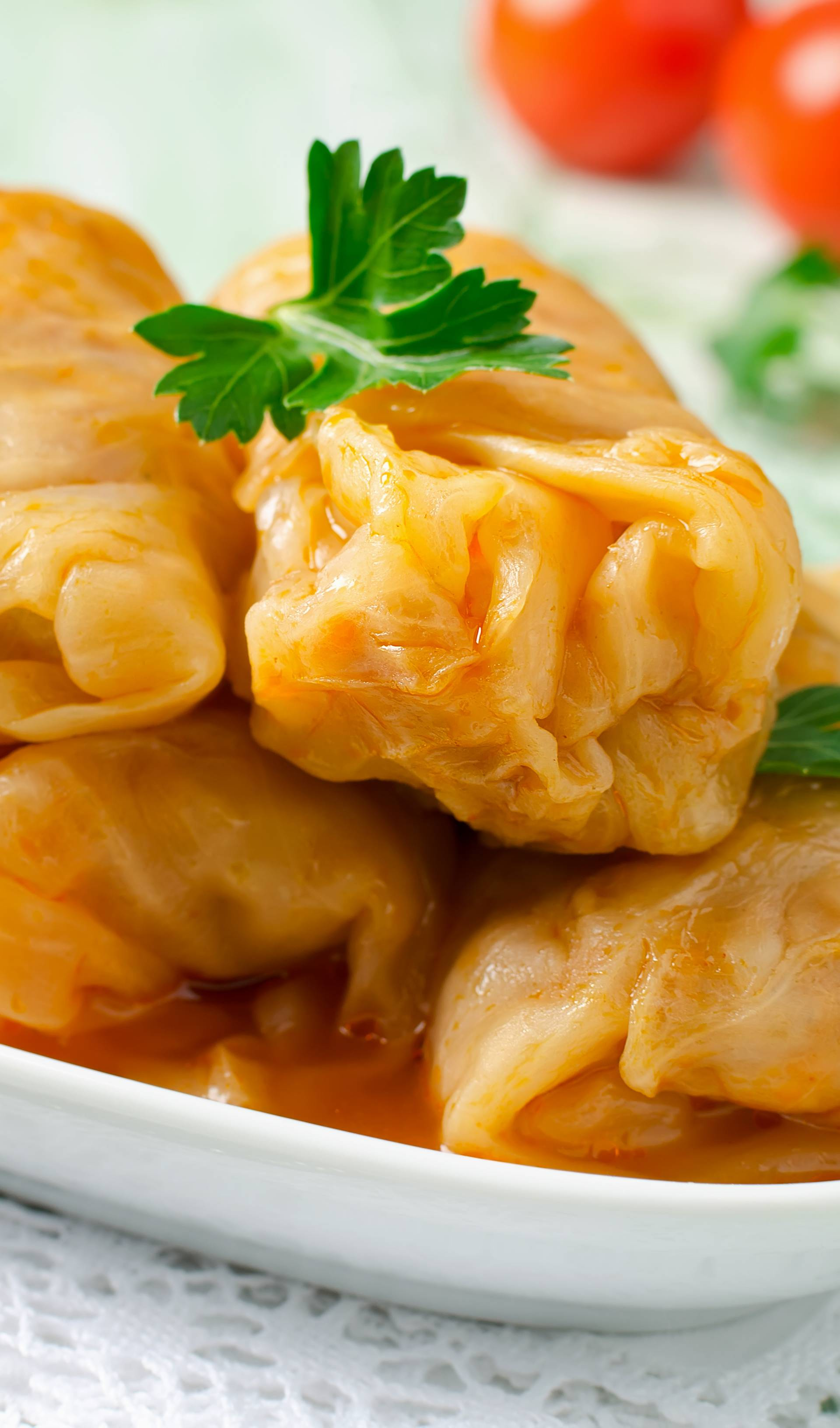 Stuffed cabbage rolls with rice and meat