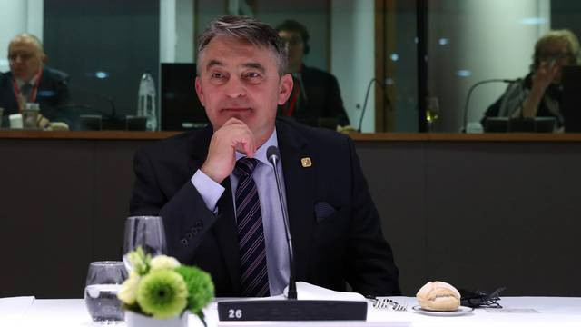 Current President of Bosnia and Herzegovina's tripartite presidency, Croatian Zeljko Komsic waits before a meeting of the EU-Western Balkans Summit at the EU headquarters in Brussels