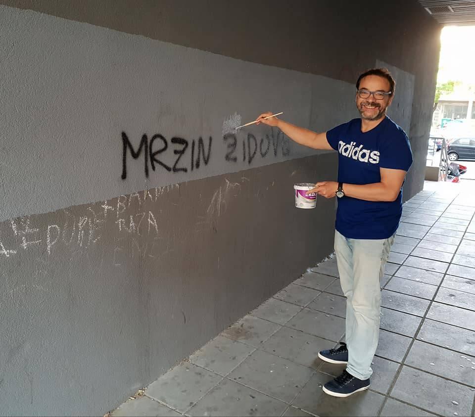 'Mrzim Židove': Splićanin sam kistom 'riješio' odvratni grafit