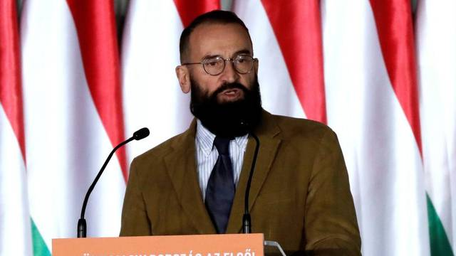 Szajer, senior member of Fidesz party delivers his speech in Budapest