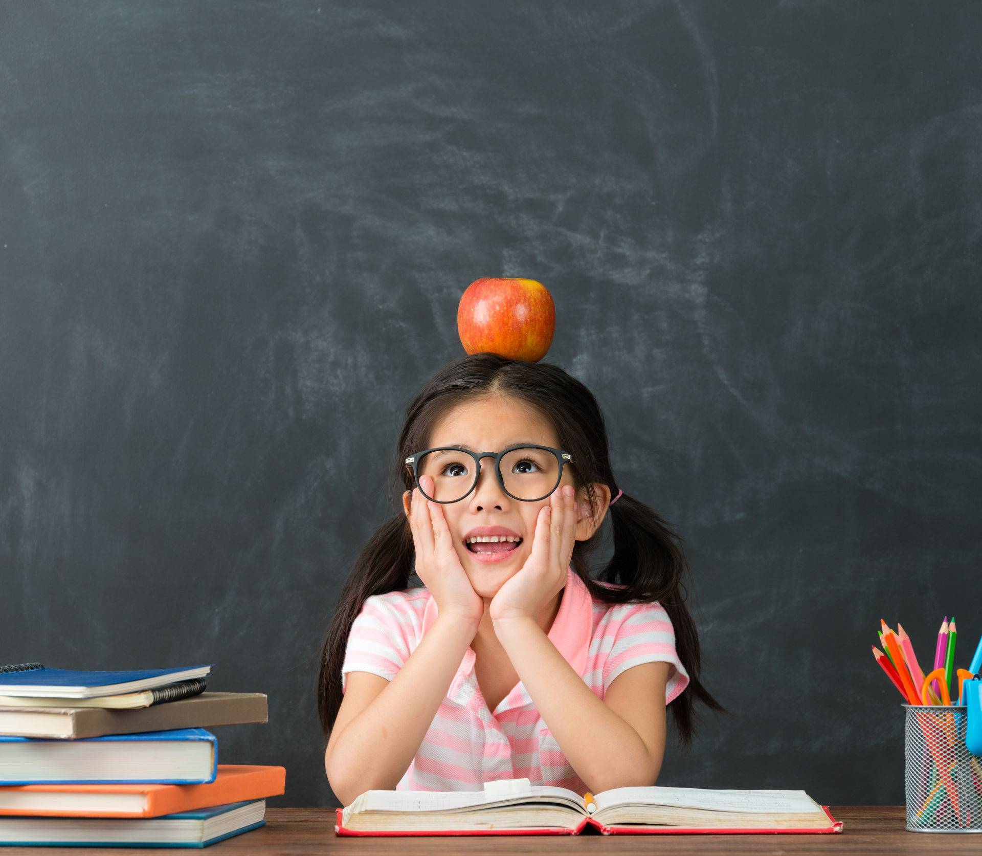 beautiful pretty female kid student studying