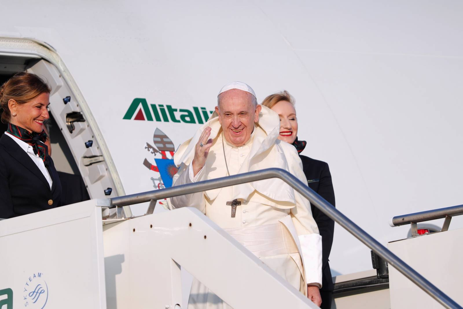 Pope Francis departs Fiumicino Airport to begin his visit to the African nations of Mozambique, Madagascar and Mauritius, in Rome, Italy