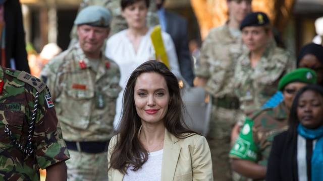 U.S. Actor and UNHCR Special Envoy Angelina Jolie arrives to give a statement at the The International Peace Support Training Centre in Nairobi, Kenya