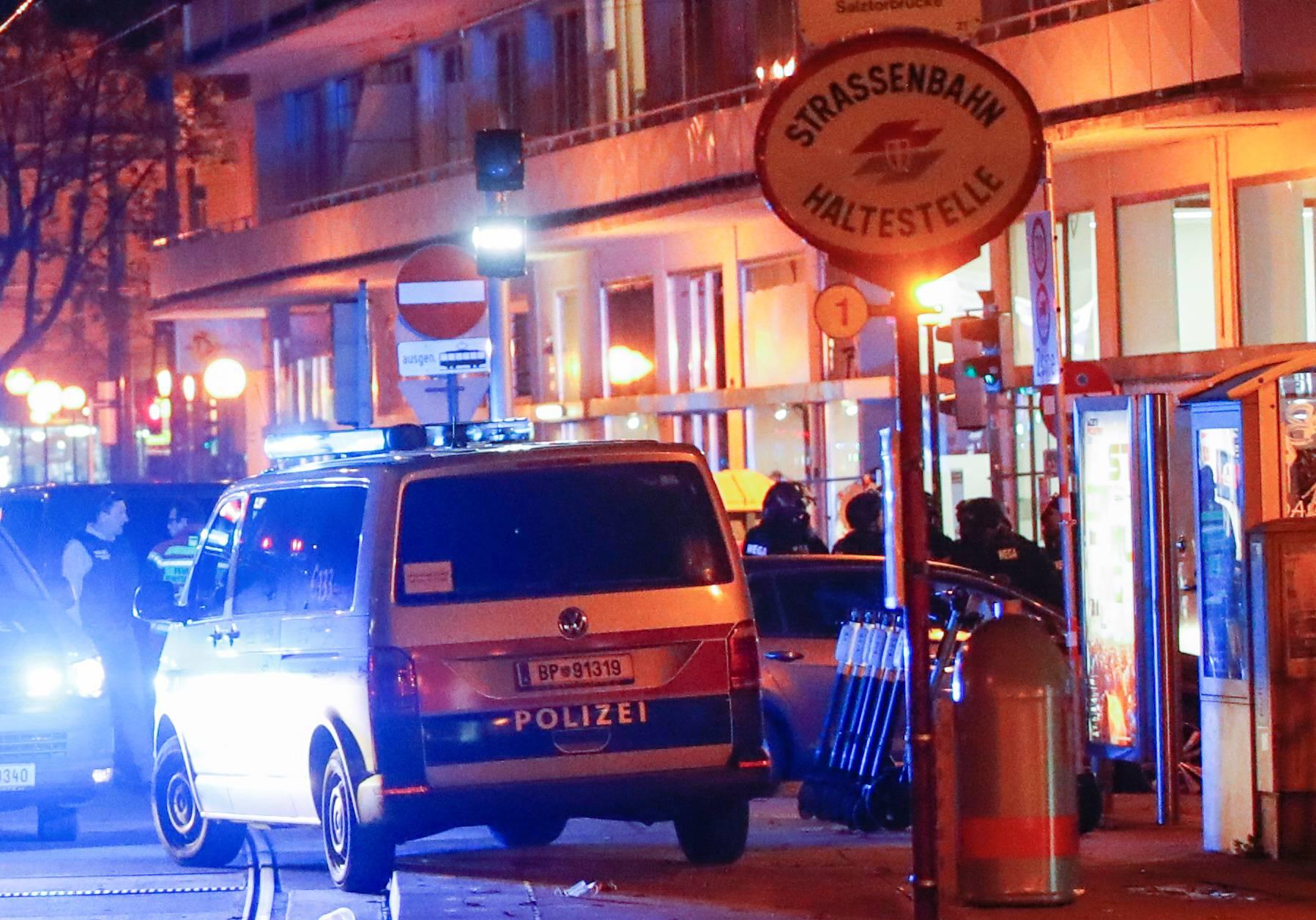 Police blocks a street near Schwedenplatz square after exchanges of gunfire in Vienna