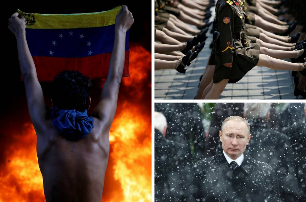 Vojnikinje Sj. Koreje marširaju, Venezuela gori, Putin tuguje...