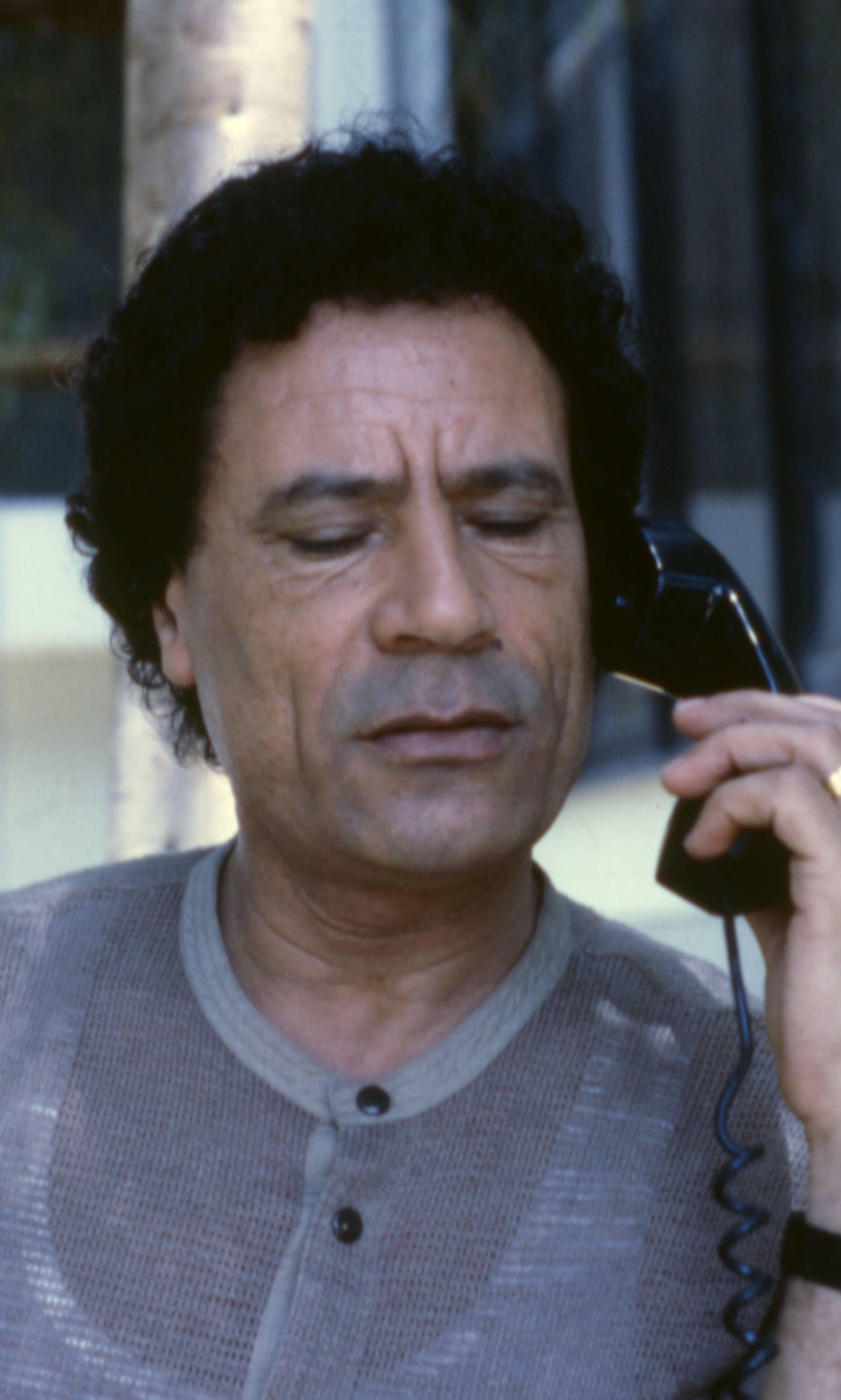 Muammar Gaddafi in garden, Bab al-Azizia, Tripoli, Libya
