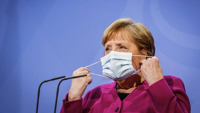 German Chancellor Angela Merkel gives a statement after video conference of EU leaders