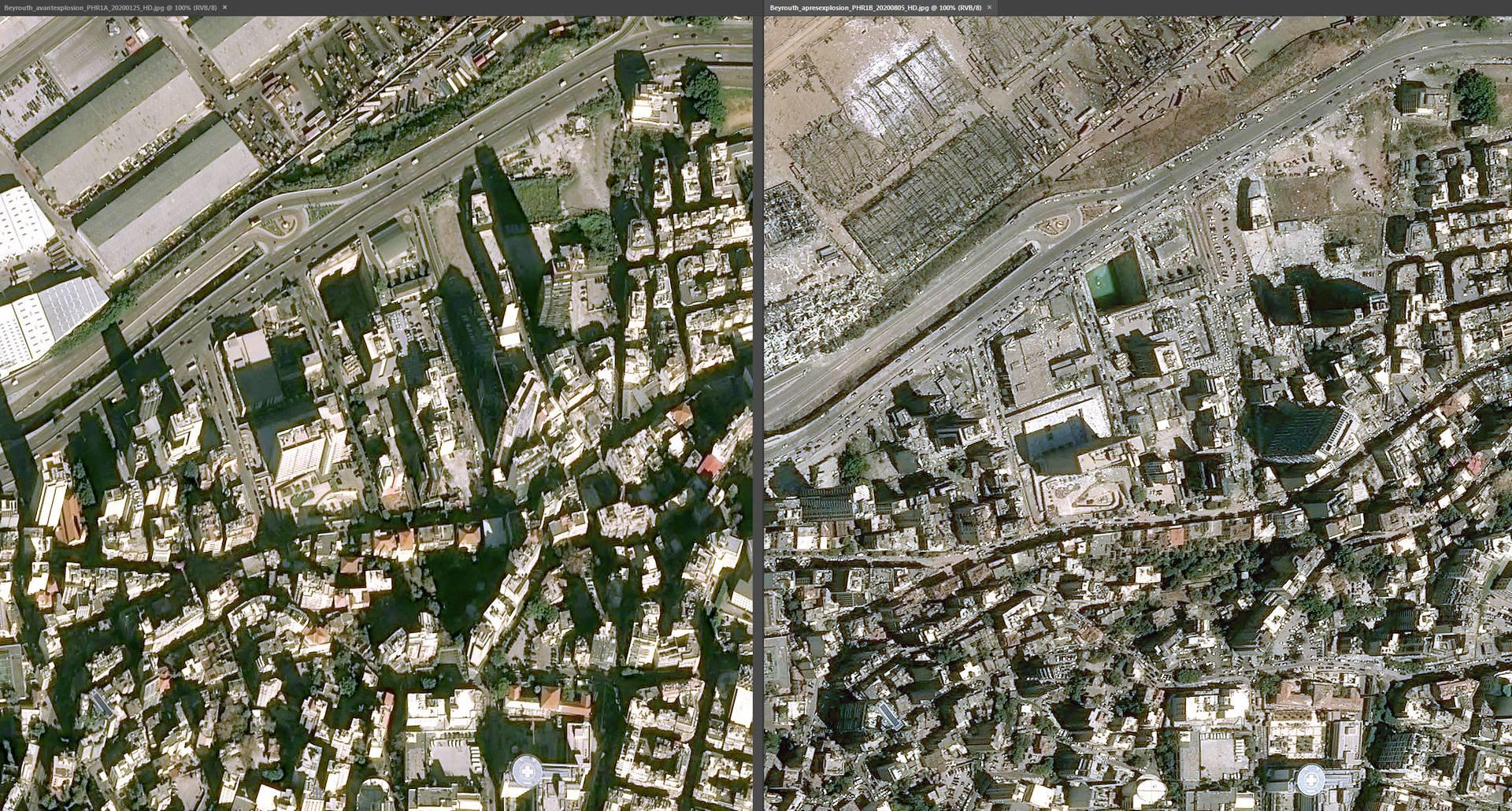 Šokantne satelitske snimke Bejruta prije i poslije eksplozije