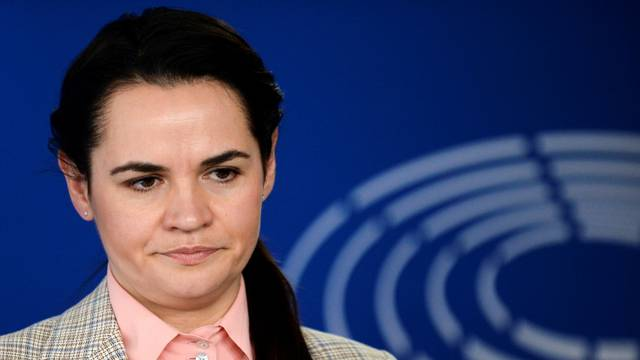 FILE PHOTO: Belarusian opposition figure Tsikhanouskaya attends a news conference in Brussels
