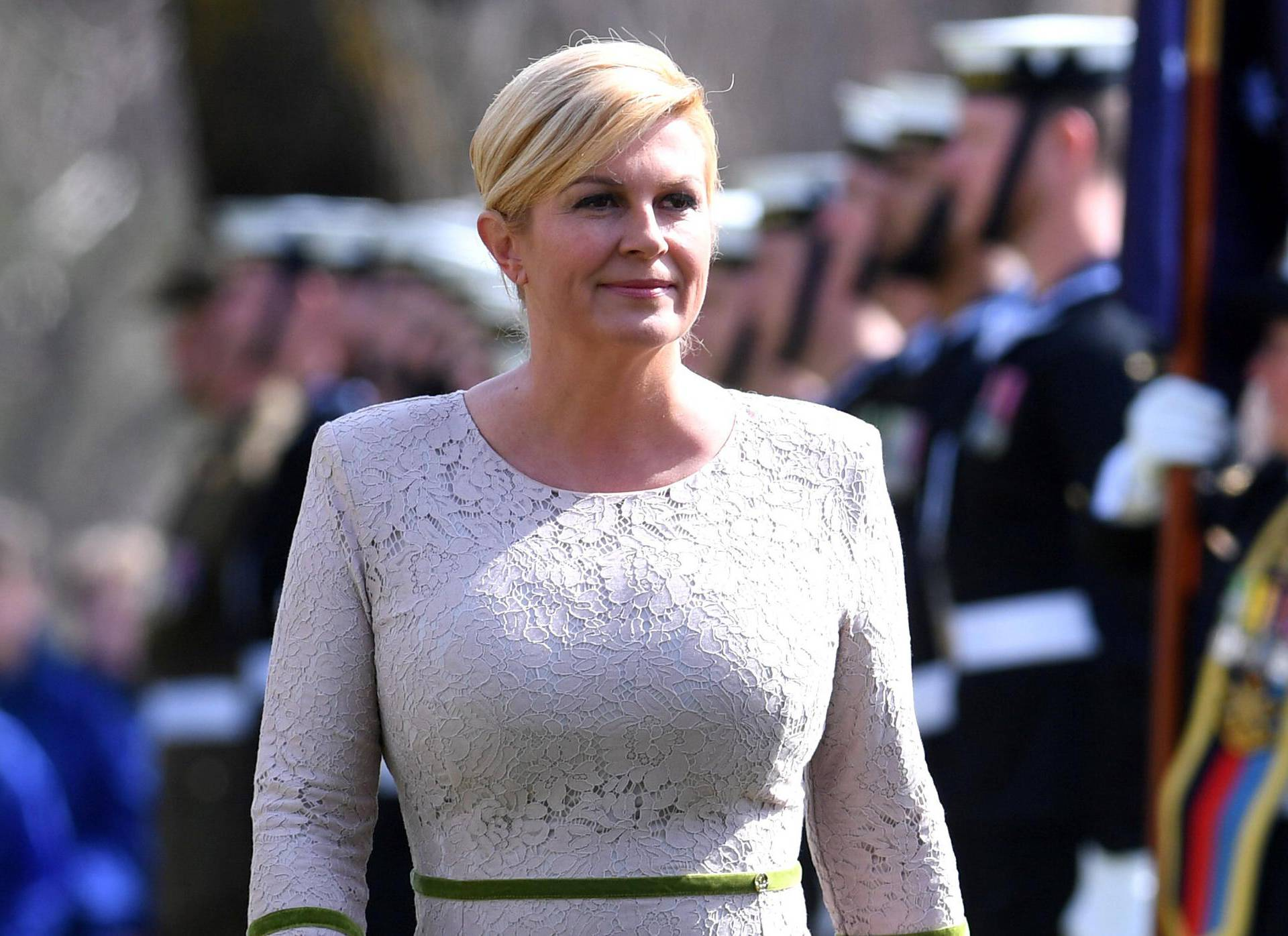President of Croatia Kolinda Grabar-Kitarovic inspects an Australian military guard of honour during ceremonial welcome at Government House in Canberra