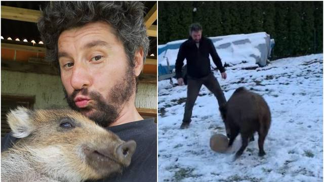 Bućan pripitomio divlju svinju Koronu: Zaigrali su i nogomet