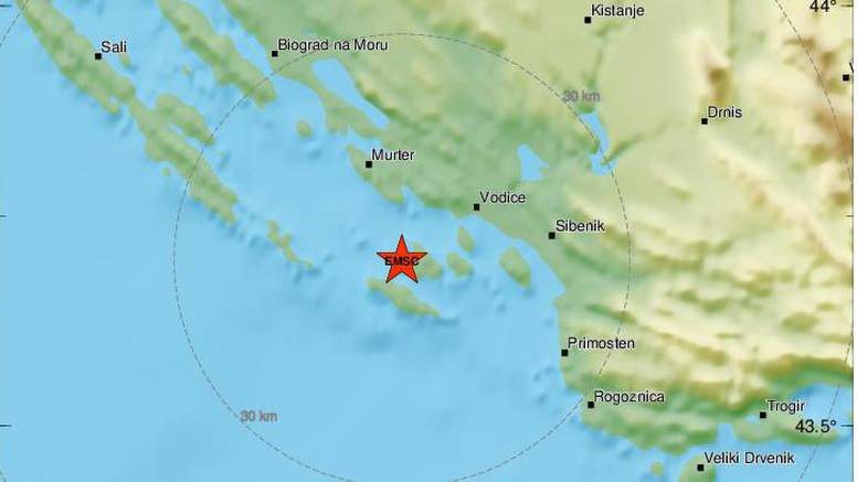 Novi potres od 3,2 Richtera  kod Šibenika, opet se trese i Zagreb