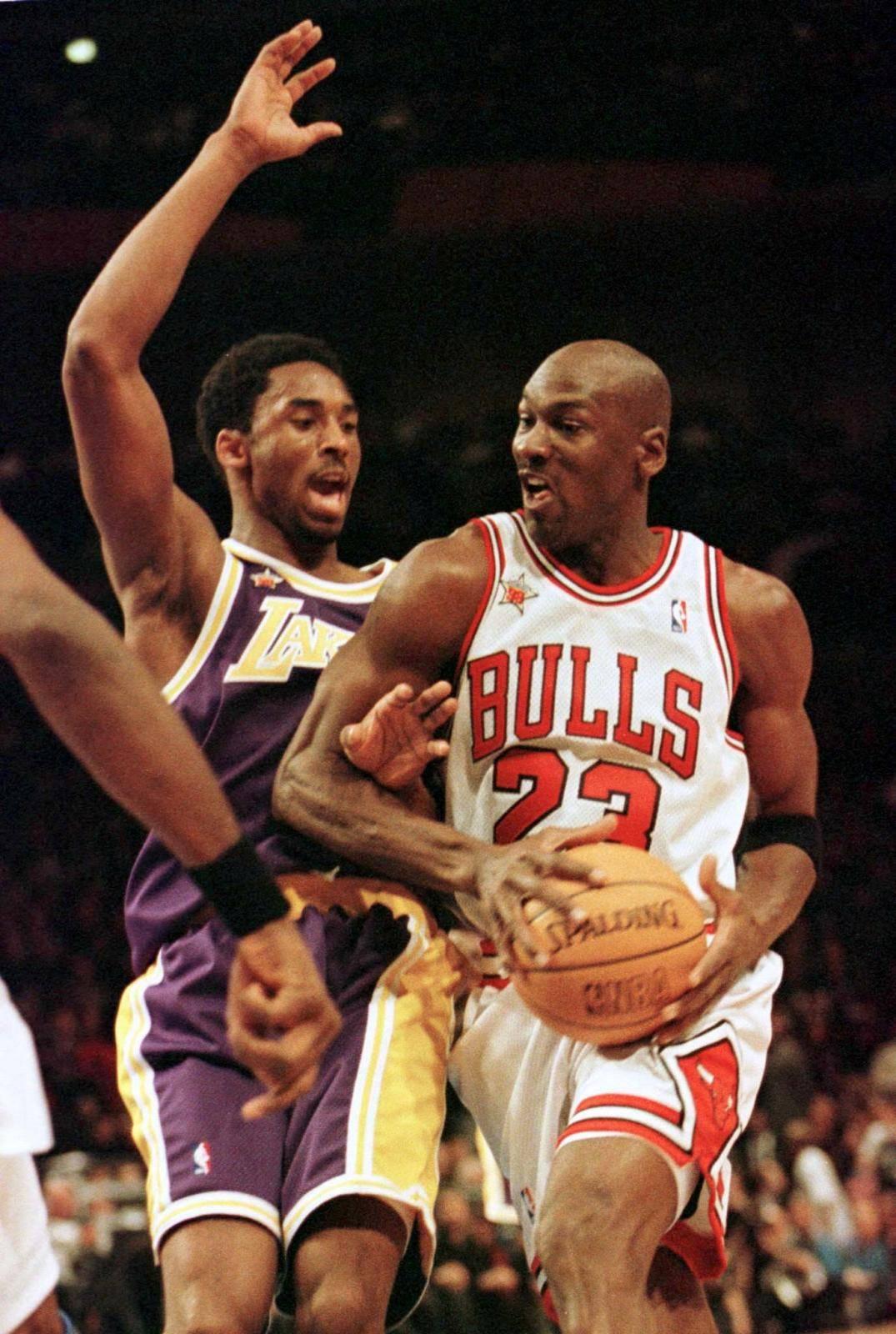 FILE PHOTO: Bulls Jordan And Lakers Bryant in NBA All Star Game in New York