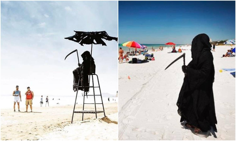 Obukao se u smrt i prošetao plažom da upozori na virus
