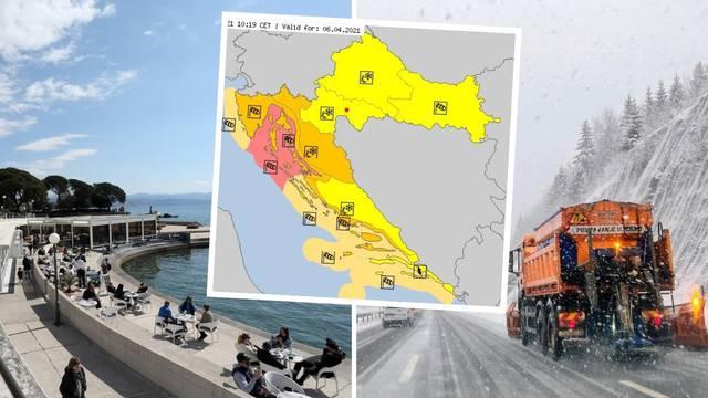 Cijela Hrvatska sutra će biti pod alarmom: Udari bure od 130 na sat, snijeg i grmljavinske oluje