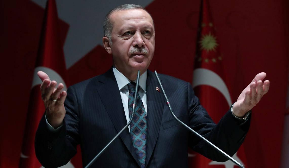 Turkish President Erdogan attends a meeting of his ruling AKP in Ankara