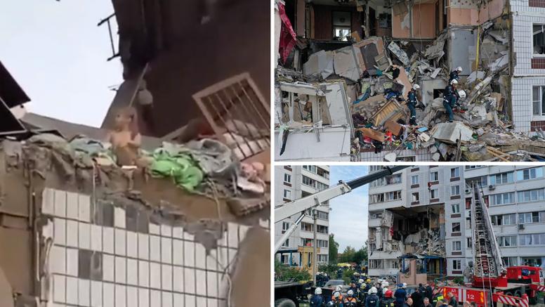 Stravične scene u Moskvi: Djevojčica sjedi na rubu razrušenog stana u zgradi