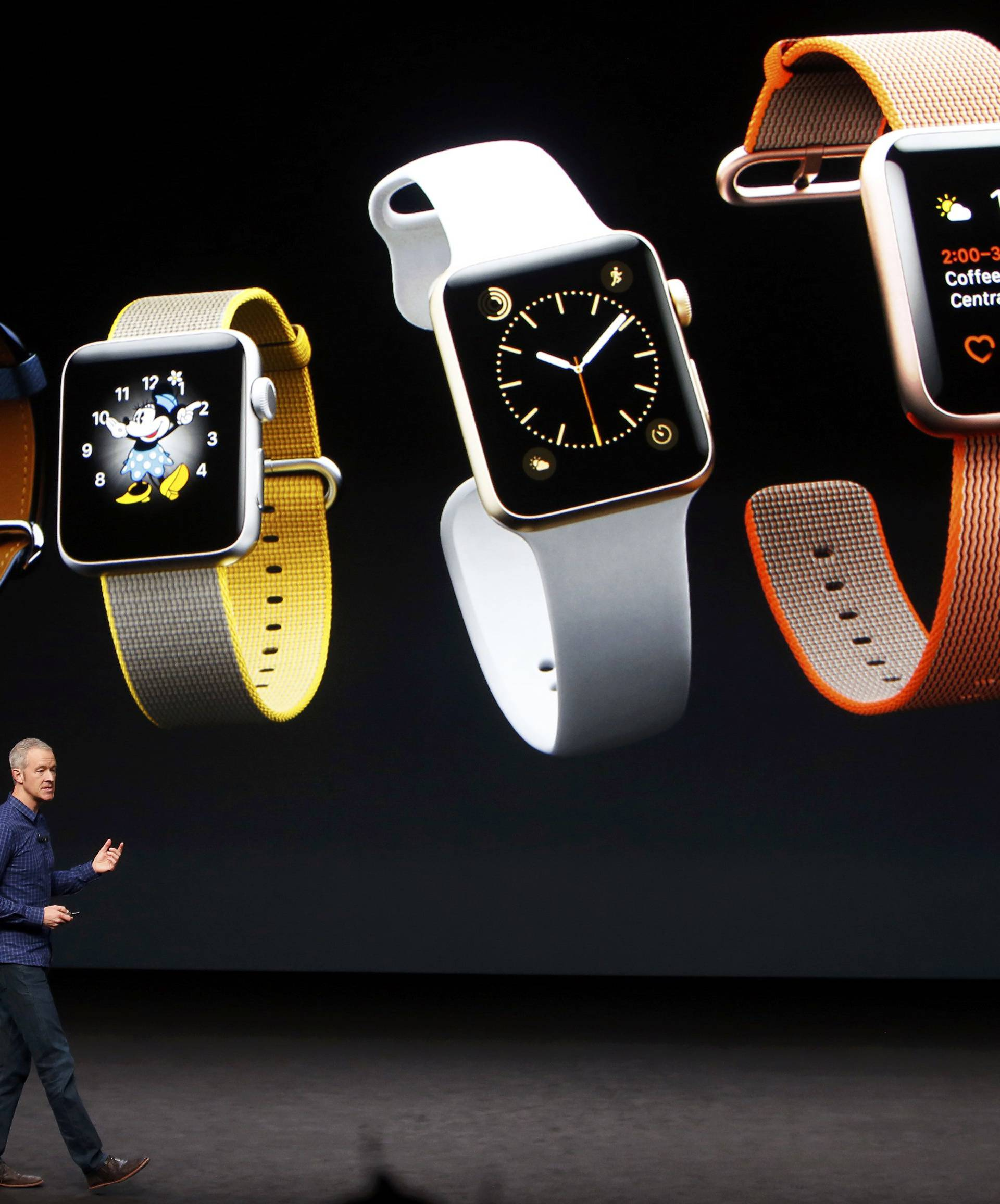 Jeff Williams discusses the Apple Watch Series 2 during an Apple media event in San Francisco