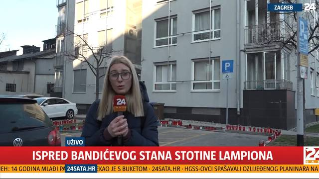 Ispred zgrade u Bužanovoj za Bandića gore stotine lampiona