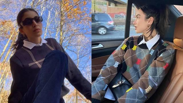 Mikro trend: Kragna koja izvire iz retro pletene veste u bojama