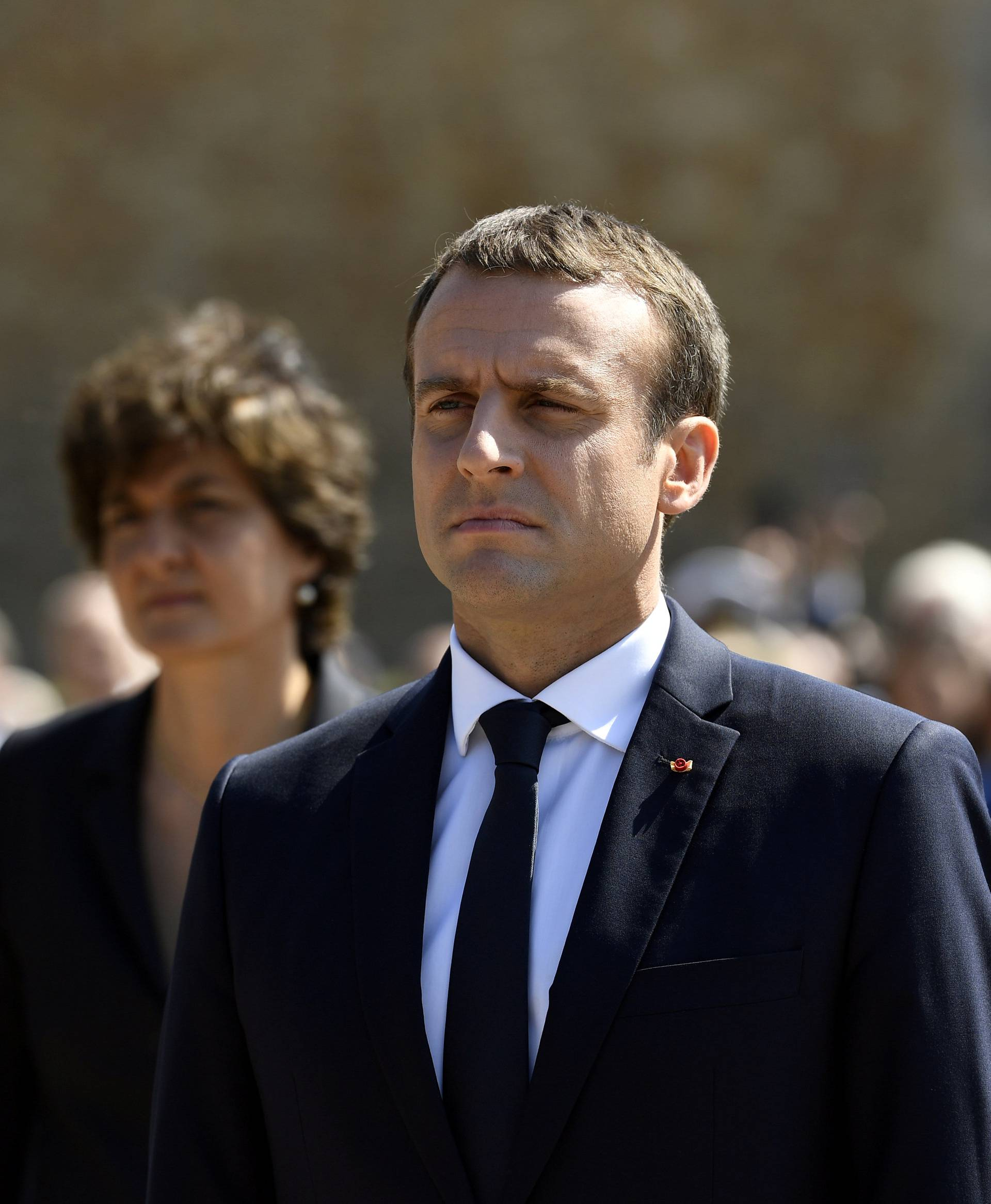 French President Emmanuel Macron attends a ceremony marking the 77th anniversary of late French General Charles de Gaulle's appeal of June 18, 1940, at the Mont Valerien memorial in Suresnes