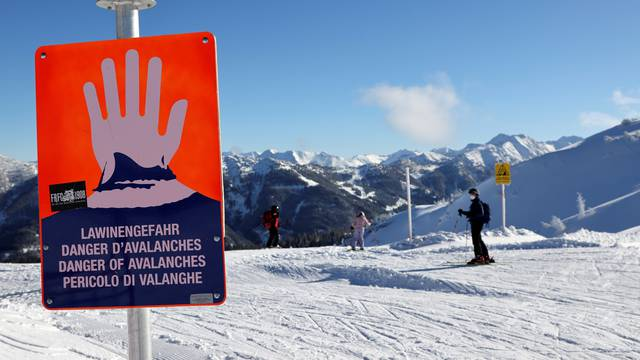 Avalanche warning sign is pictured in Flachau