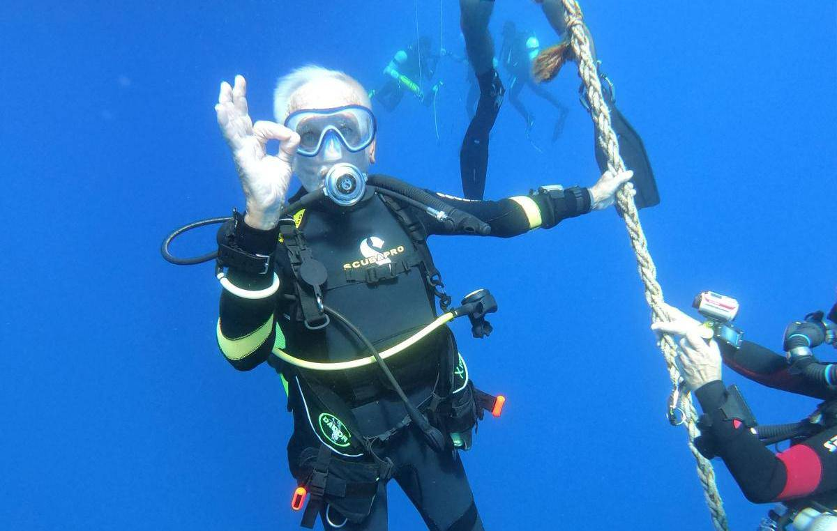 Ray Woolley, diver and World War Two veteran, is seen underwater during an attempt to break a new diving record as he turns 96 by taking the plunge at the Zenobia, a cargo ship wreck off the Cypriot town of Larnaca