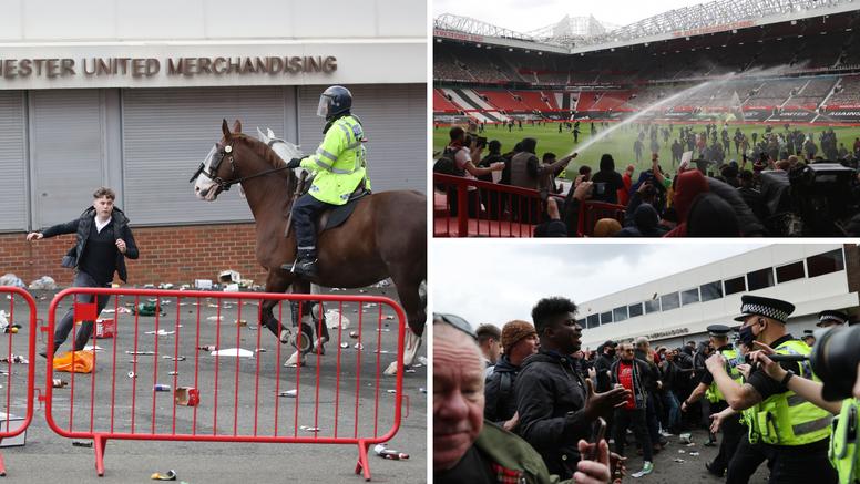 Utakmica Uniteda i Liverpoola je otkazana! Navijači se tukli s policajcima, bacali boce i baklje