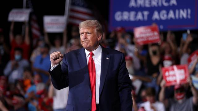 U.S. President Trump holds a campaign rally at Smith Reynolds Regional Airport in Winston-Salem, North Carolina