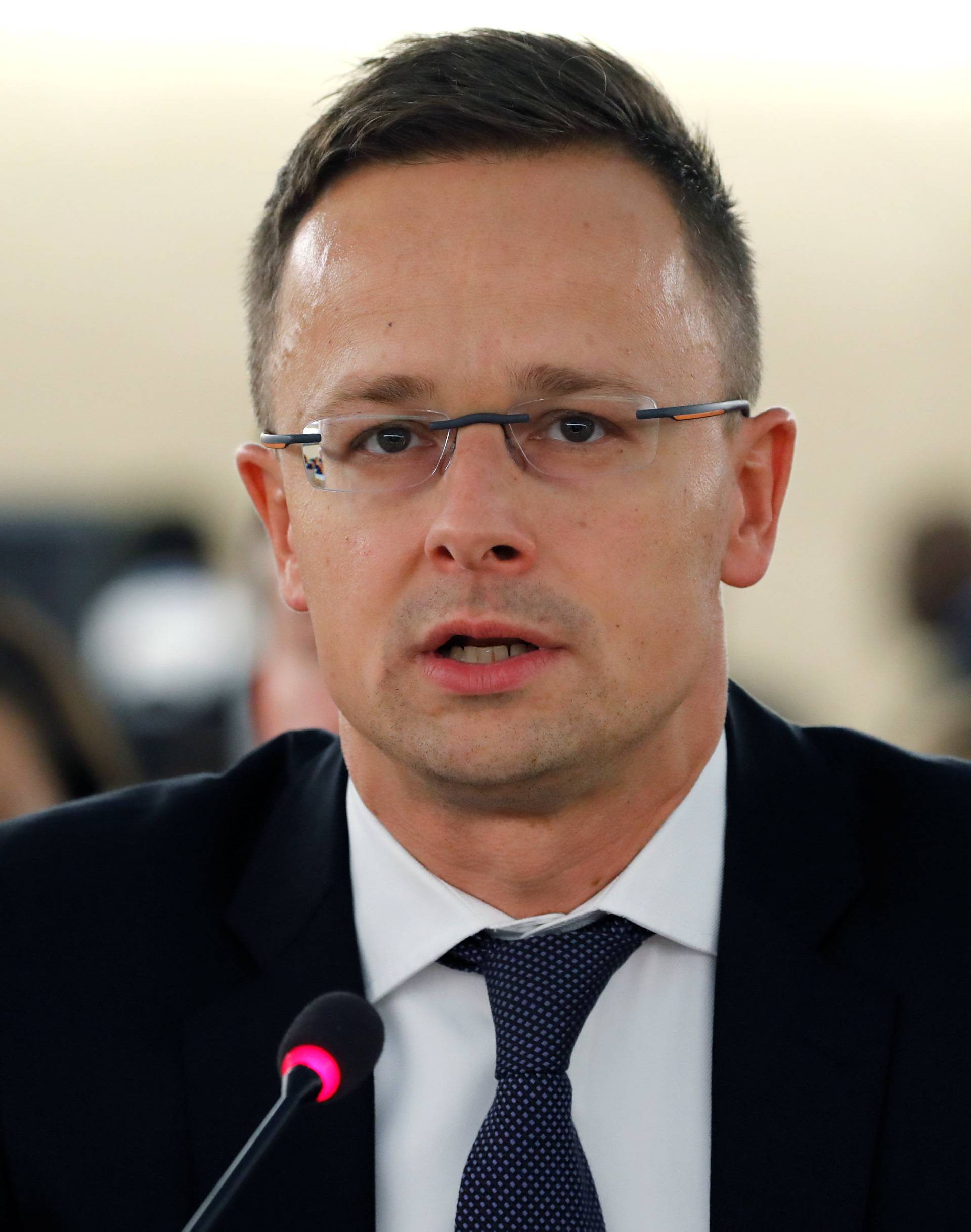 Hungarian Foreign Minister Szijjarto addresses the Human Rights Council at the United Nations in Geneva
