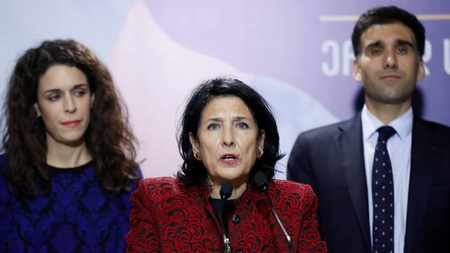 Presidential candidate Zurabishvili attends a news briefing following the presidential election in Tbilisi
