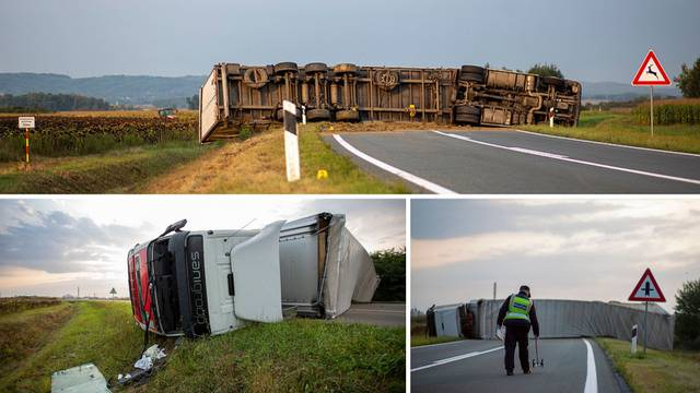 Kaos kod Virovitice: Kamion se prevrnuo, obilaznica blokirana