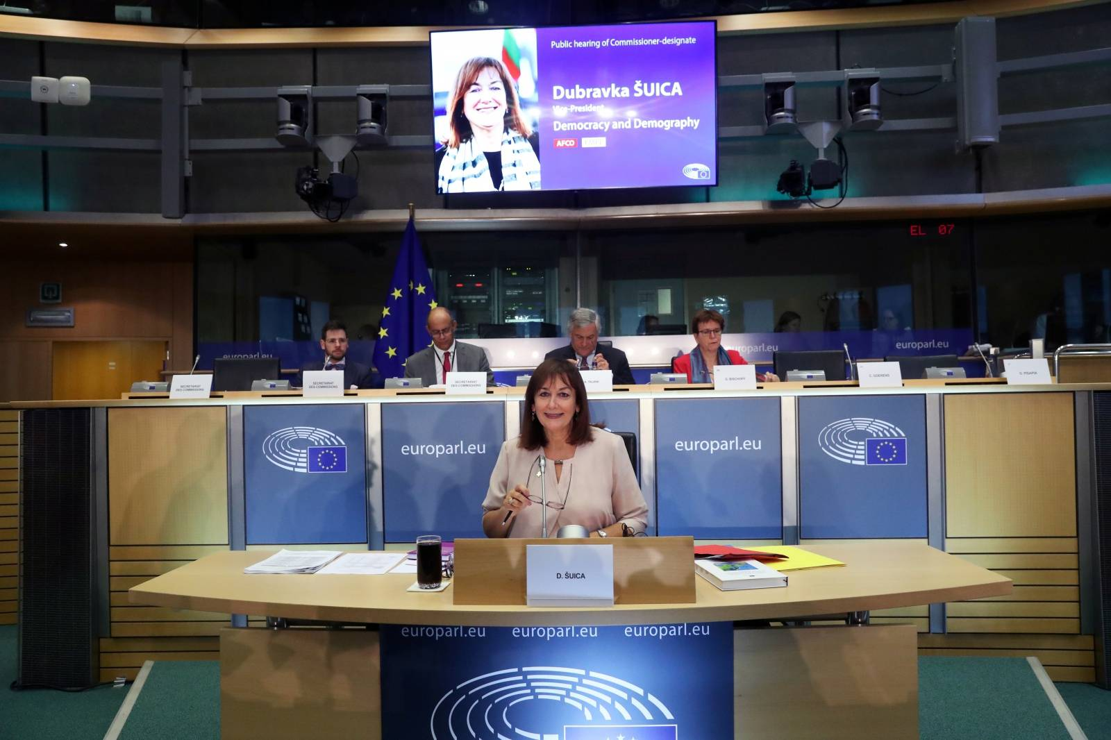 European for Democracy and Demography Commissioner-designate Dubravka Suica of Croatia attends her hearing before the European Parliament in Brussels