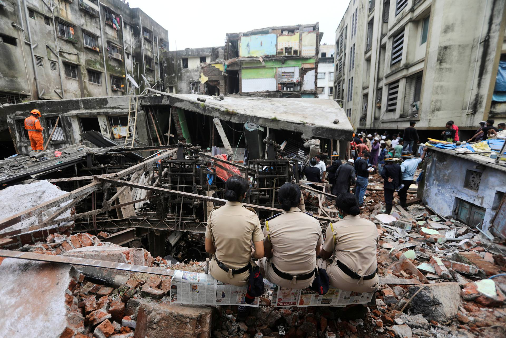 FILE PHOTO: Site of a collapsed building in Bhiwandi