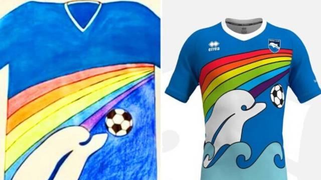 Dječak ostvario san: Dizajnirao dresove Pescari, a tek mu je 6