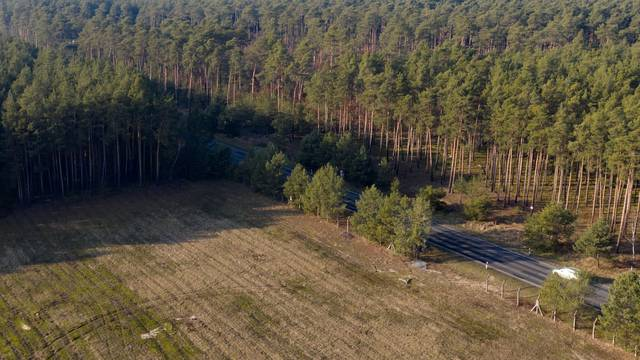An aerial picture shows the area where the U.S. electric vehicle pioneer Tesla will build its first European factory and design center in Gruenheide near Berlin