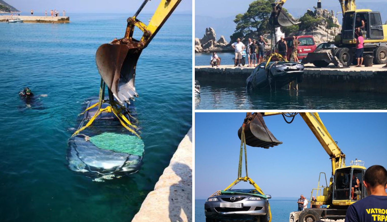 Načelniku Trpnja auto upao u more: Izvlačili su ga bagerom