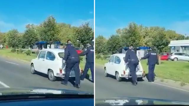 Vozi, Fićo! Dobri policajci na Slavonskoj aveniji pogurali bakicu do benzinske postaje