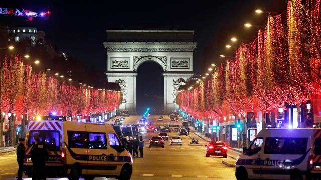 Empty Champs Elysees since gatherings have been banned due to Covid-19 restrictions