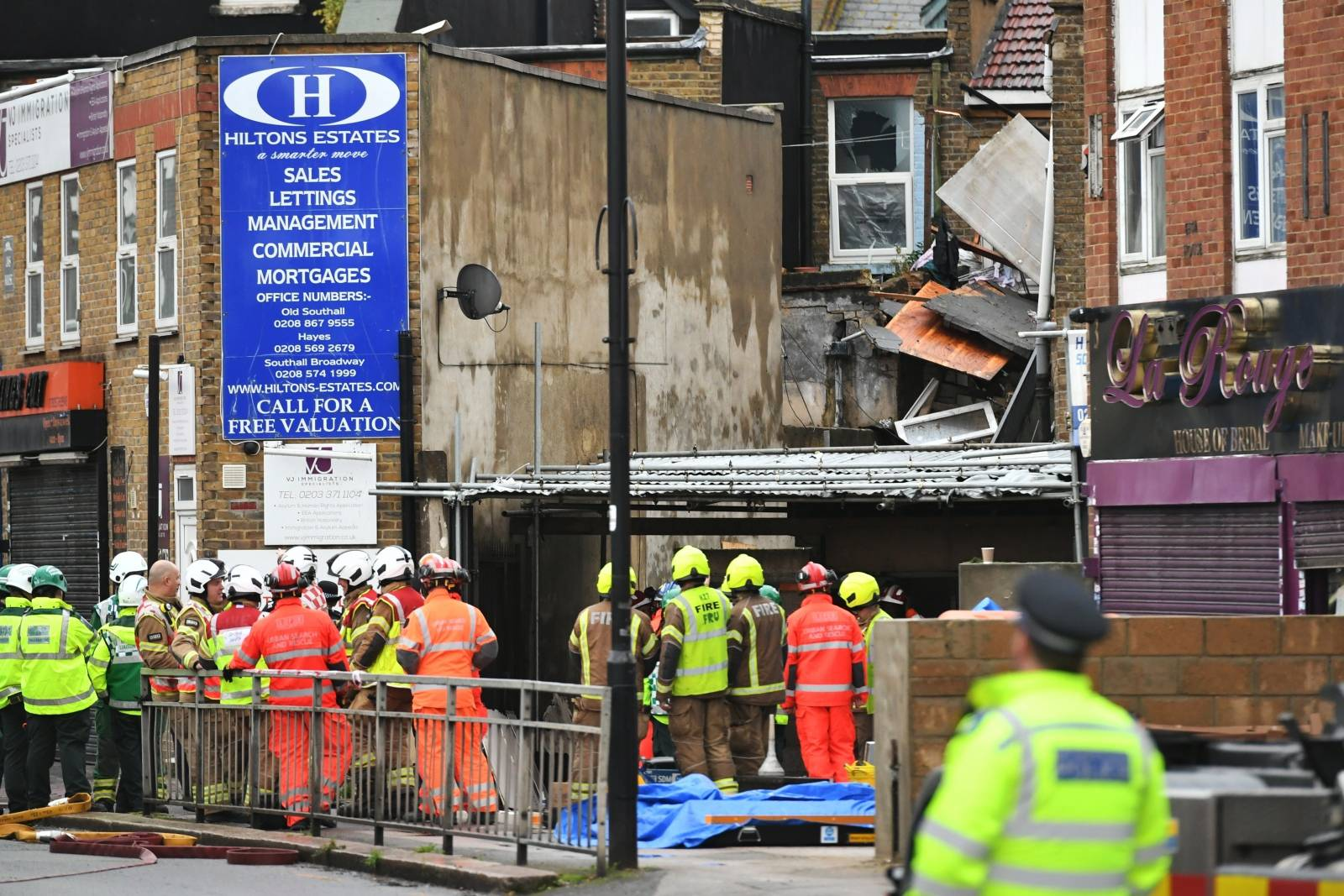 Suspected gas explosion in Ealing